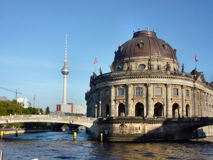 Looking toward the Bode Museum from River Spree