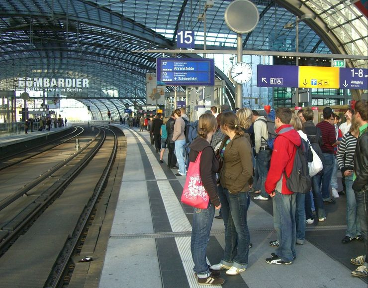 Waiting for the S-Bahn Train in Berlin's Central Station