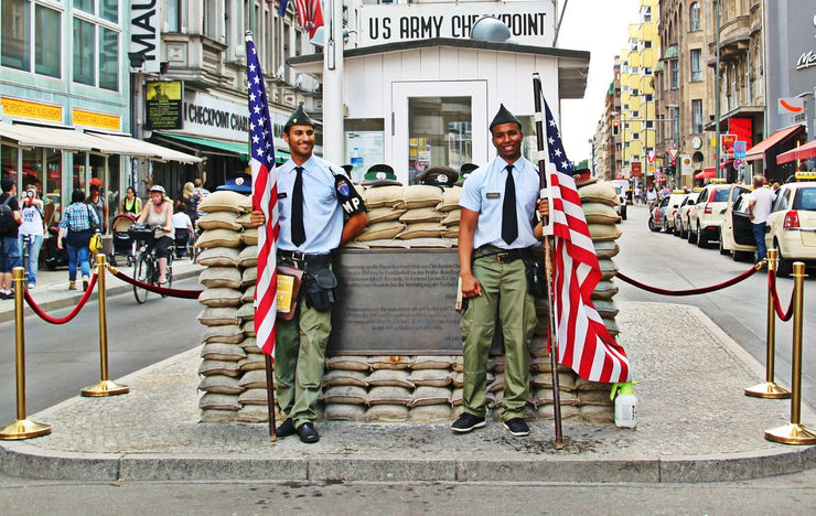 The Checkpoint Charlie Museum is located on the left just beyond the checkpoint