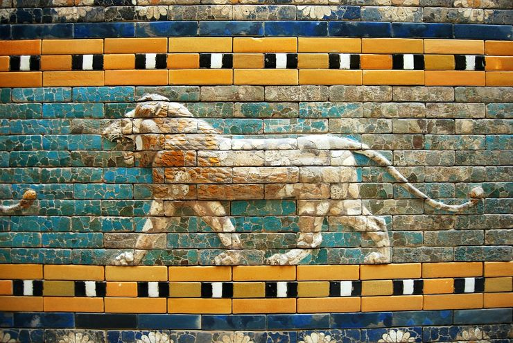 Part of the mosaic tile work of the Ishtar Gate at the Pergamon Museum