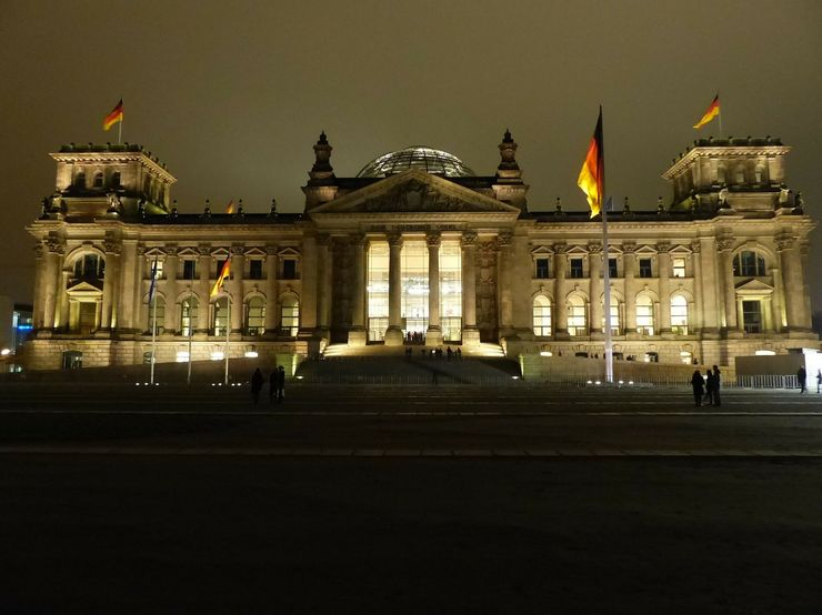 Reichstag building facade at night