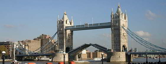 Tower Bridge with bascules being raised