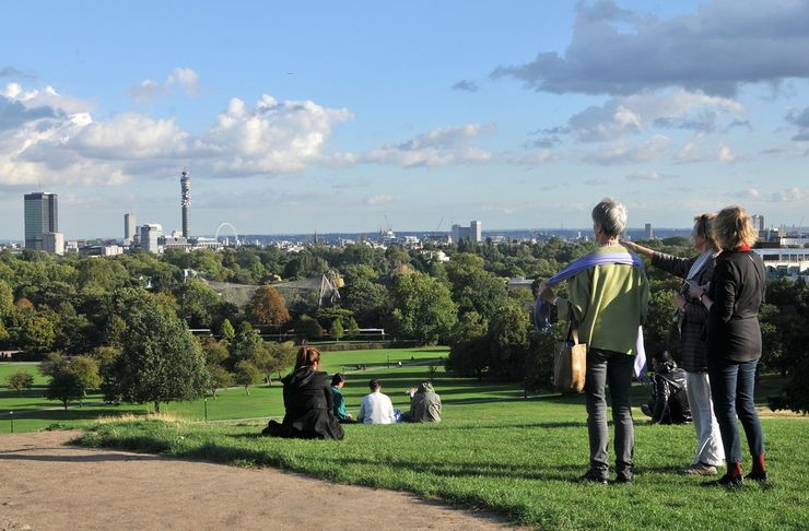 Enjoying the View of London from Primrose Hill
