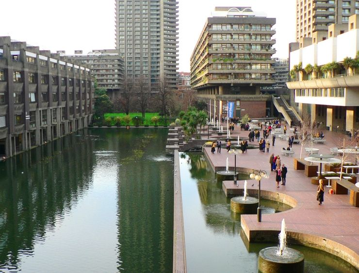 Water feature and courtyard at Barbican Centre