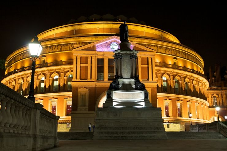 Outside Royal Albert Hall at night