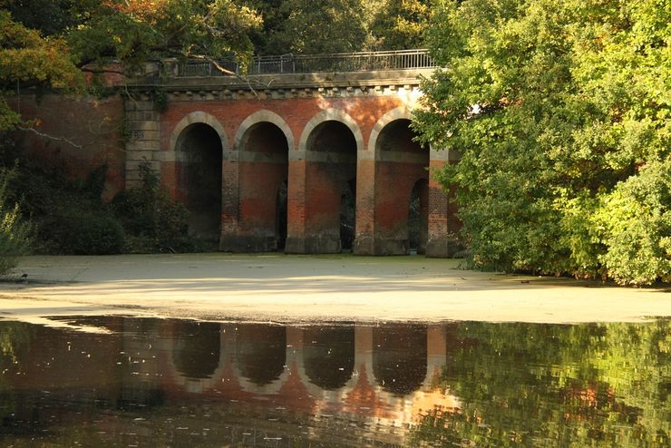 Arched Viaduct Crosses a Pond In Beautiful Hampstead Heath