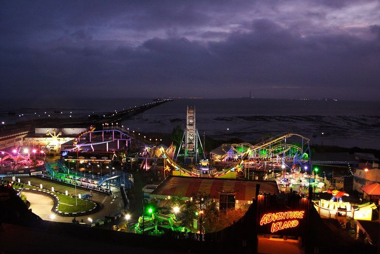 Colourful Lights of Adventure Island at Night