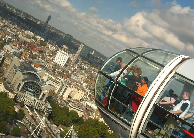 Passengers Enjoying the Great View from the top of the London Eye