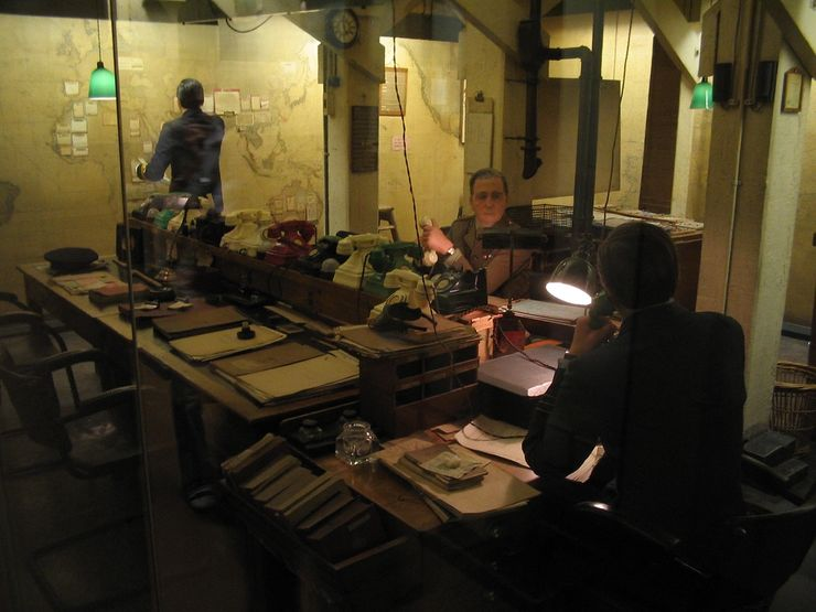 Inside the Map Room in the Churchill War Rooms Museum