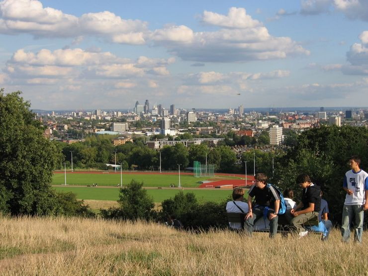 View of the London Financial District from Parliament Hill in the Hampstead Heath