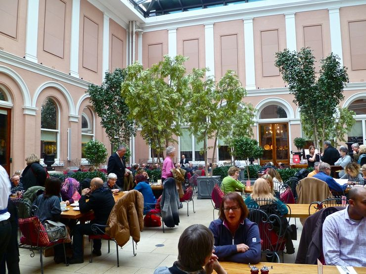 Cafe inside the atrium of the Wallace Collection Museum