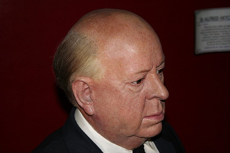 A convincingly real wax likeness of Alfred Hitchcock at Madame Tussauds in London