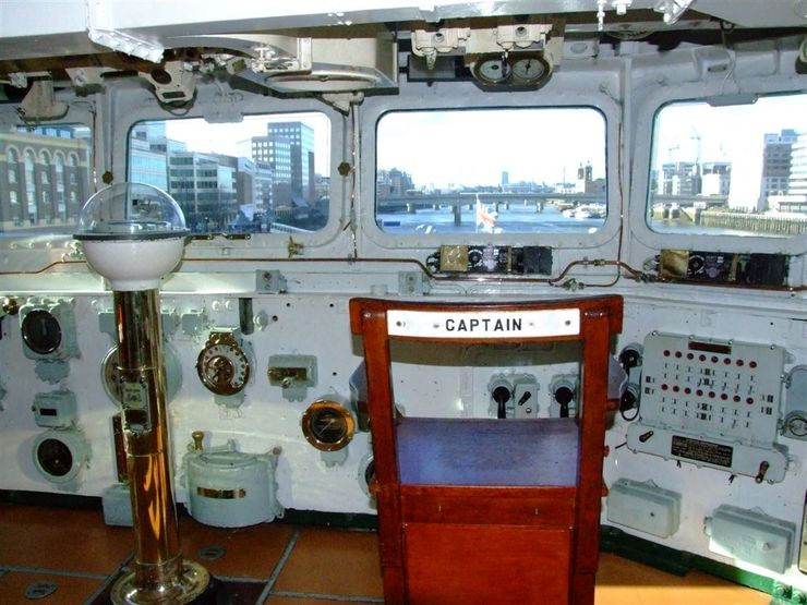 View from the Captains Chair of the HMS Belfast