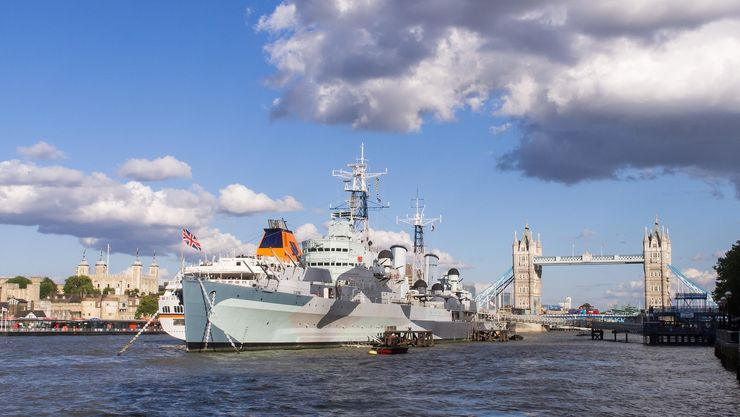 View of the HMS Belfast with the Tower of London and Tower Bridge in the background