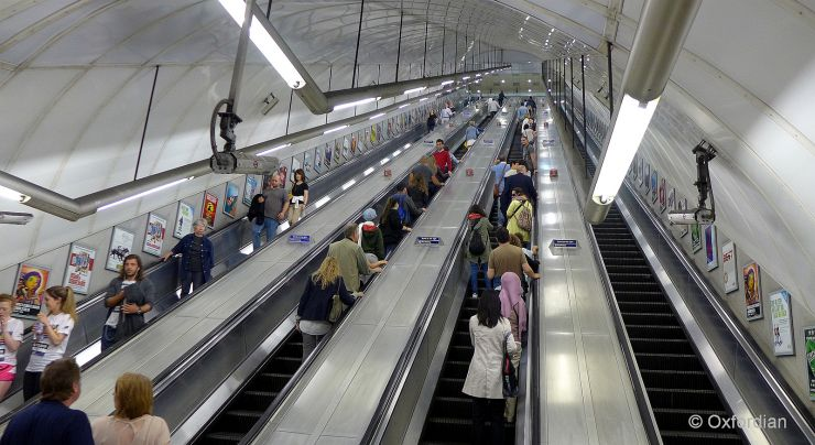 Typical long escalators at a London Tube Station