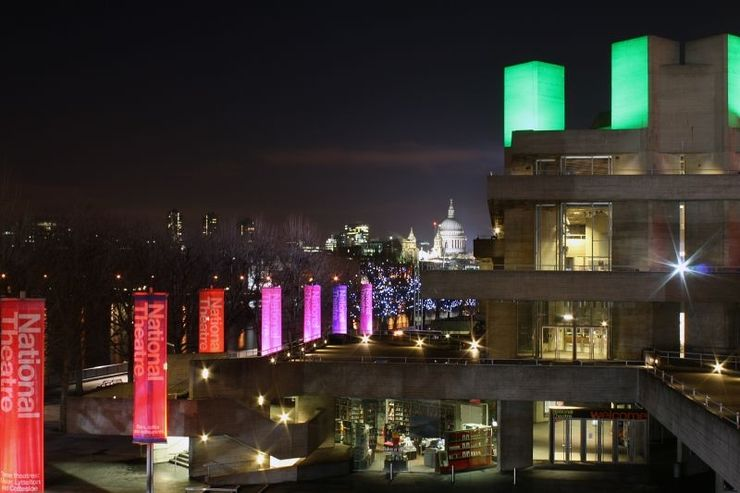 Nighttime view of the Royal National Theatre and the Southbank
