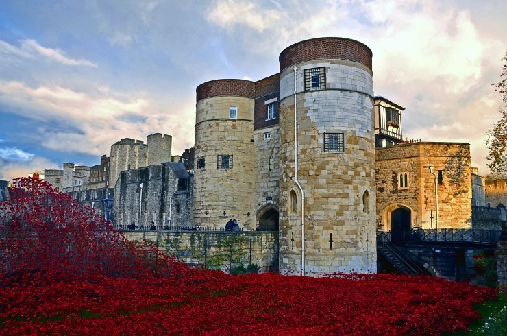 Spectacular shot of the Tower of London and surrounding commemorative ceramic poppies