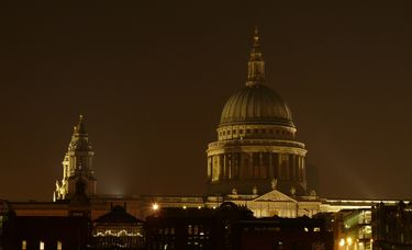 The dome of St. Paul's Cathedral at night