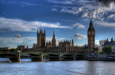 Gothic Spires of Palace of Westminster with Westminster Bridge in the Foreground