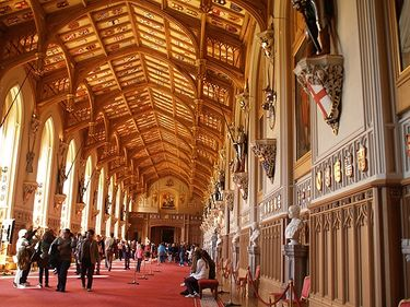 Saint George's Hall inside Windsor Castle is decorated with the shields and armor or over 1000 knights