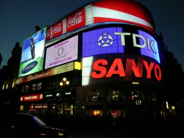 Bright Neon Lights of Piccadilly Circus at Night