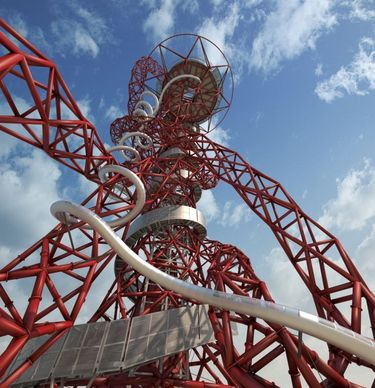 Looking up at the twists and turns of the ArcelorMittal Orbit Slide