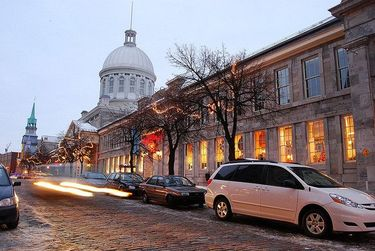 Bonsecours Market lit up during the holidays