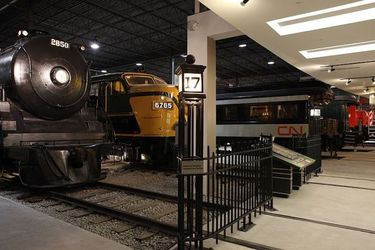Locomotives and cars on display at the Canadian Railway Museum
