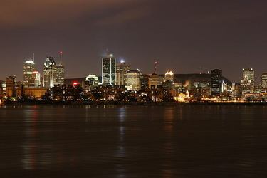 View of the Montreal Skyline from the Saint Lawrence River at Night