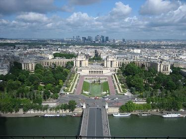Spectacular view from part way up the Eiffel Tower with the River Seine and Jardin du Trocadero in the foreground