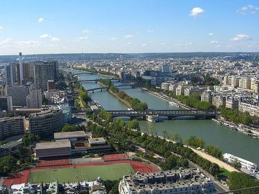 A beautiful view looking southwest along the River Seine is from part way up the Eiffel Tower