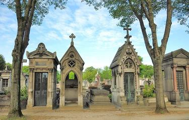 Grand monumental markers at Pere-Lachaise Cemetery in Paris