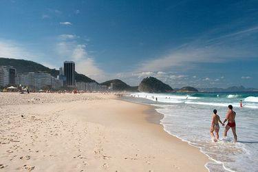 Enjoying the white sand and sure along Copacabana Beach