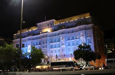 Copacabana Palace Hotel at night