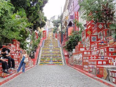 Looking up at the famous Escadaria Selaron (Seleron Steps) in Rio