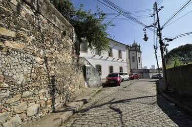 Cobblestone road leading up to the hill to Church of Our Lady of the Glory