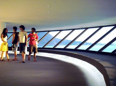 Enjoying the spectacular vistas from inside the Museum of Contemporary Art in Niterói