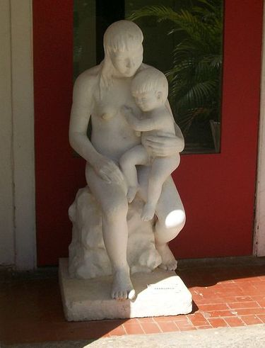 Statue of Indian mother and child at the Museu do Índio RJ