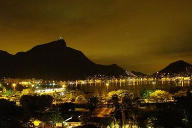Spectacular nighttime view of Rodrigo de Freitas Lagoon from Ipanema