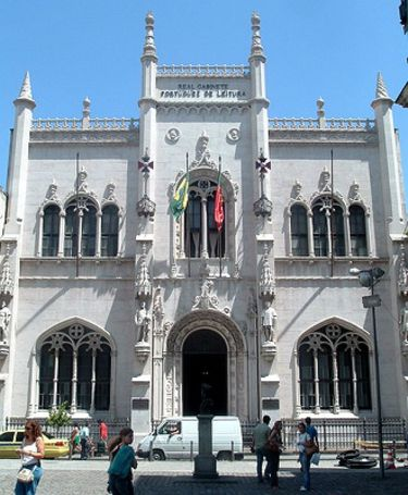Facade and entrance to the Royal Portuguese Reading Room in Rio de Janeiro