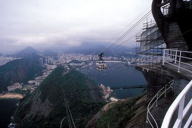 Gondola approaching the top of Sugarloaf Mountain with Rio in the background