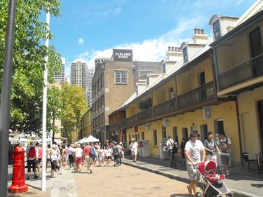 Tourists and locals alike enjoy a sunny day in The Rocks