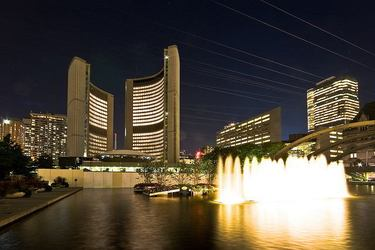 Toronto City Hall and Fountain at Night