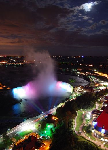 Canadian Horseshoe Falls at Night viewed from Skylon Tower