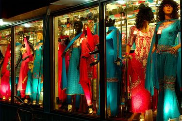 Colourful storefront display on Gerrard Street in Little India, Toronto