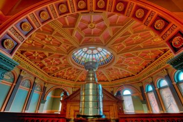 The Stanley Cup on display inside the Great Hall
