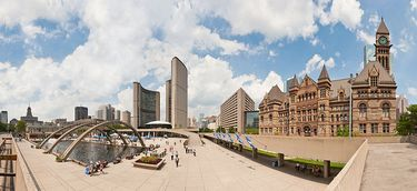 Panoramic view of Nathan Phillips Square showing both the old and new City Hall