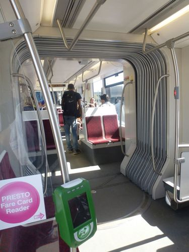 Inside one of the new TTC Flexicity Streetcars