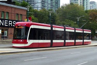 One of Toronto's new Flexity Streetcars on Spadina Avenue