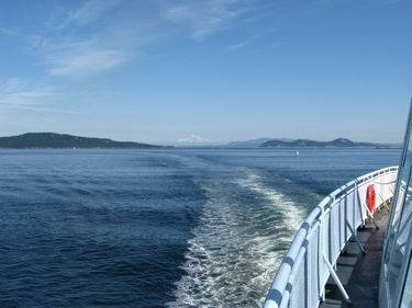 Ferry wake stretching back towards Active Pass and Mount Baker